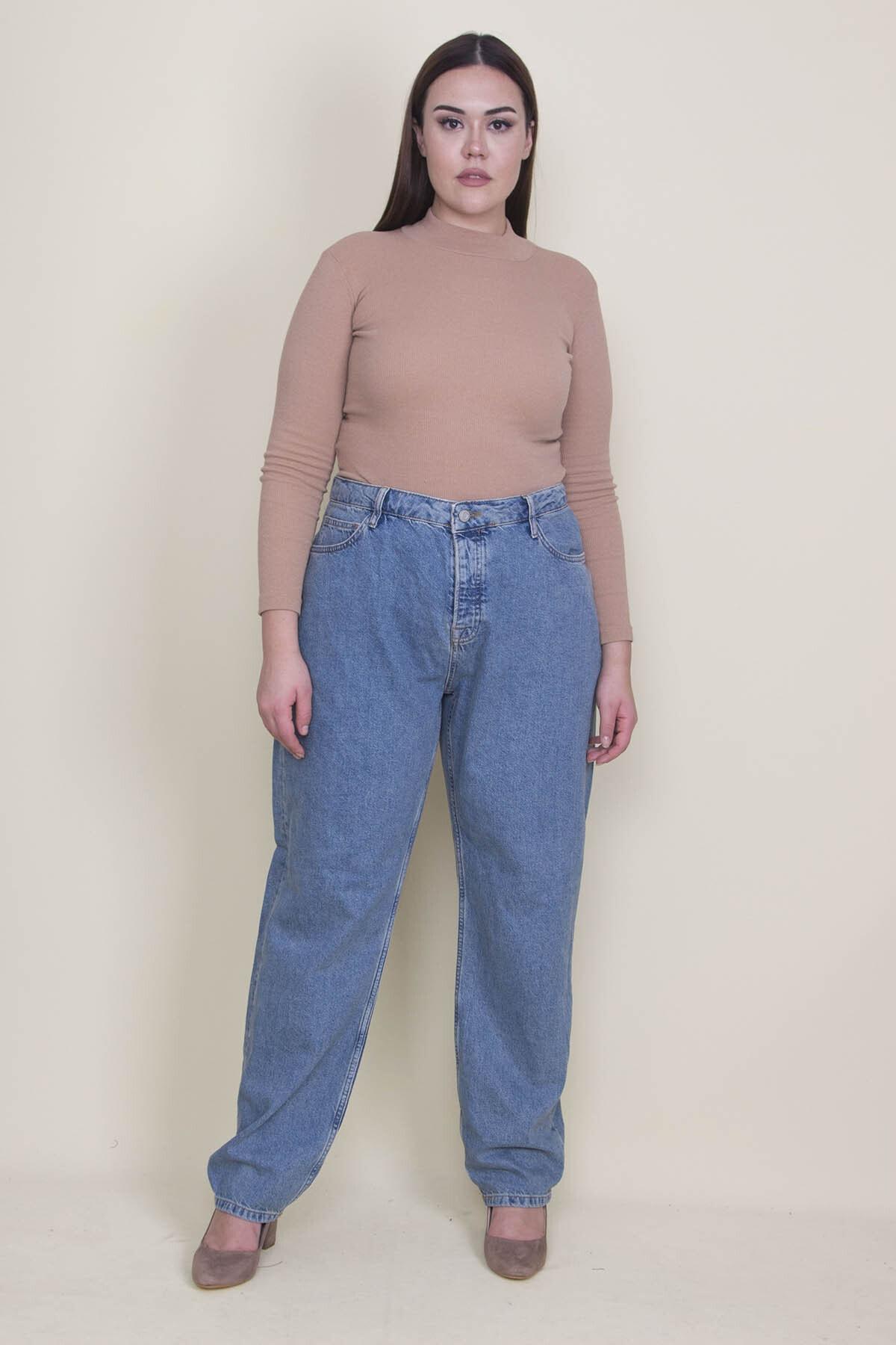 Şans Kadın Mavi Rahat Kesim 5 Cepli Kot Pantolon 65N21309 1