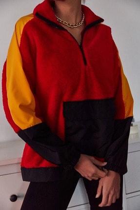 XENA Kadın Kırmızı Blok Detaylı Peluş Sweatshirt 1KZK8-11066-04
