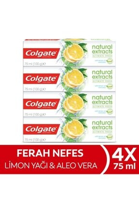 Colgate Natural Extracts Limon Yağı Maksimum Ferahlık Diş Macunu 4 X 75 Ml