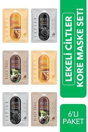 Jigott Lekeli Ciltler Için 6'lı Fırsat Paketi - Lüks Kore Maske Seti ( Black Snail, Caviar, Honey )