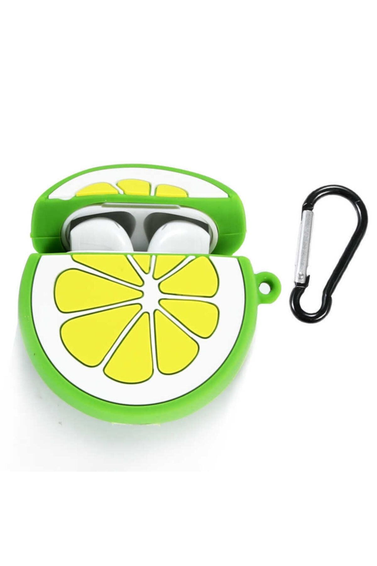 zore Silikon Lime Limon Askılı Korumalı Wireless Kablosuz Şarj Destekli  Airpods Kılıf 1
