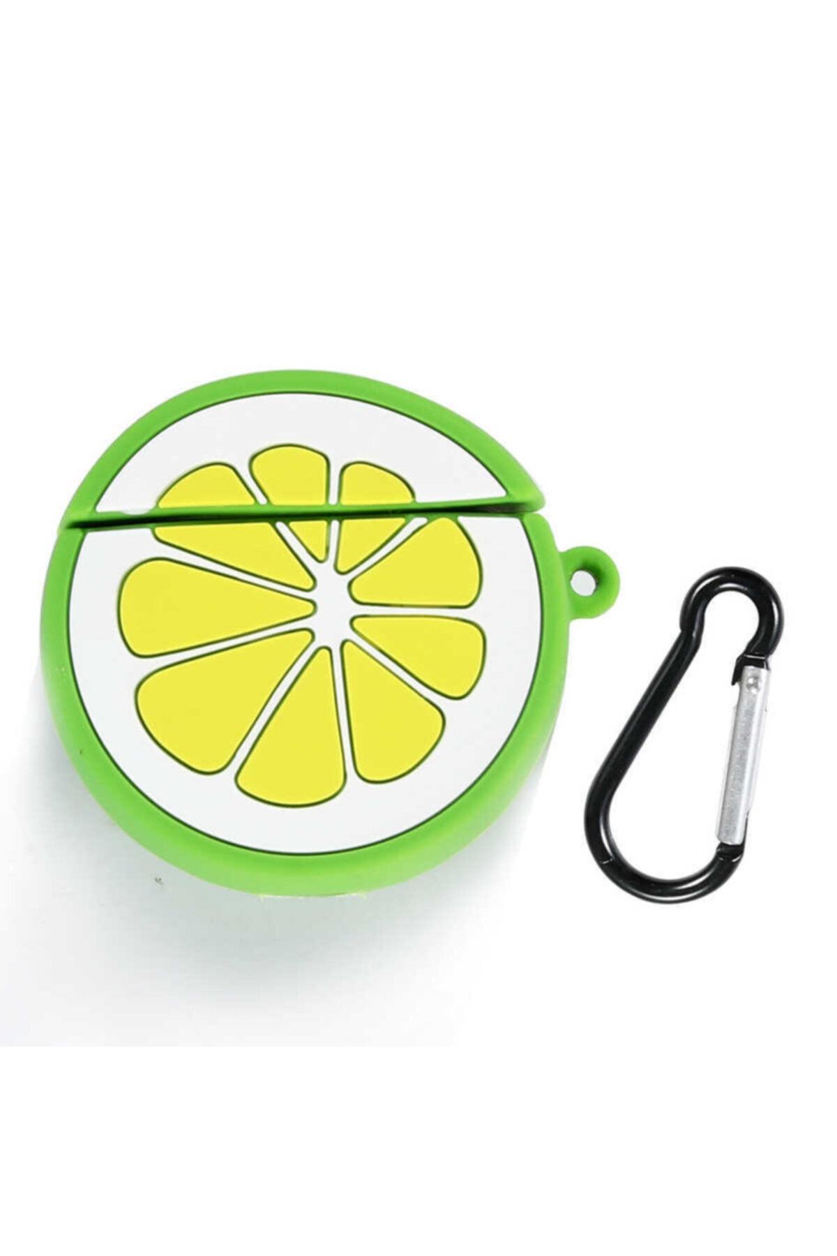 zore Silikon Lime Limon Askılı Korumalı Wireless Kablosuz Şarj Destekli  Airpods Kılıf 2