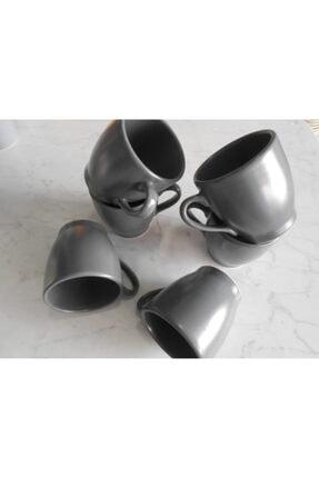 Keramika 6 lı Mat Gri  Kupa 9 cm