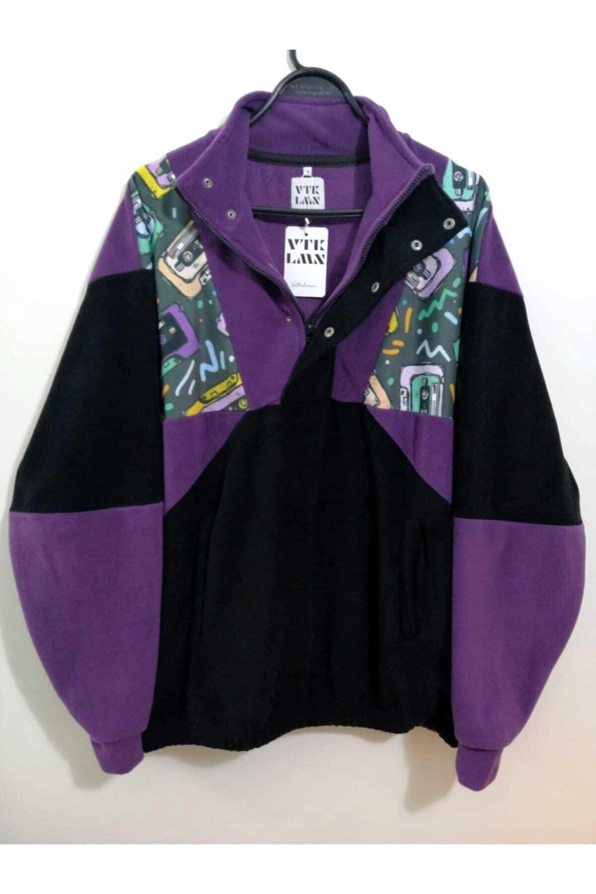 Vatkalimon Unisex Siyah Mor Yarım Fermuarlı Polar Sweatshirt 1