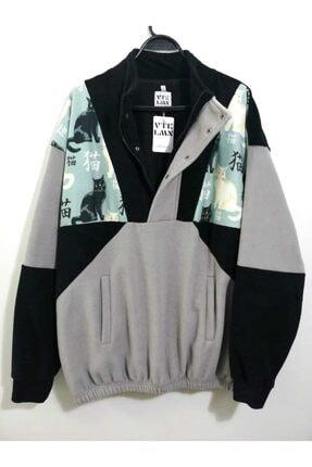 Vatkalimon Unisex Siyah Gri Yarım Fermuarlı Polar Sweatshirt
