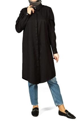 ALLDAY Kadın Siyah Gizli Patlı Gömlek Tunik
