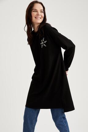 DeFacto Kadın Siyah Baskılı Tunik Sweatshirt