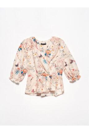 Dilvin Kadın Pembe Jakarlı Kruvaze Bluz 5790
