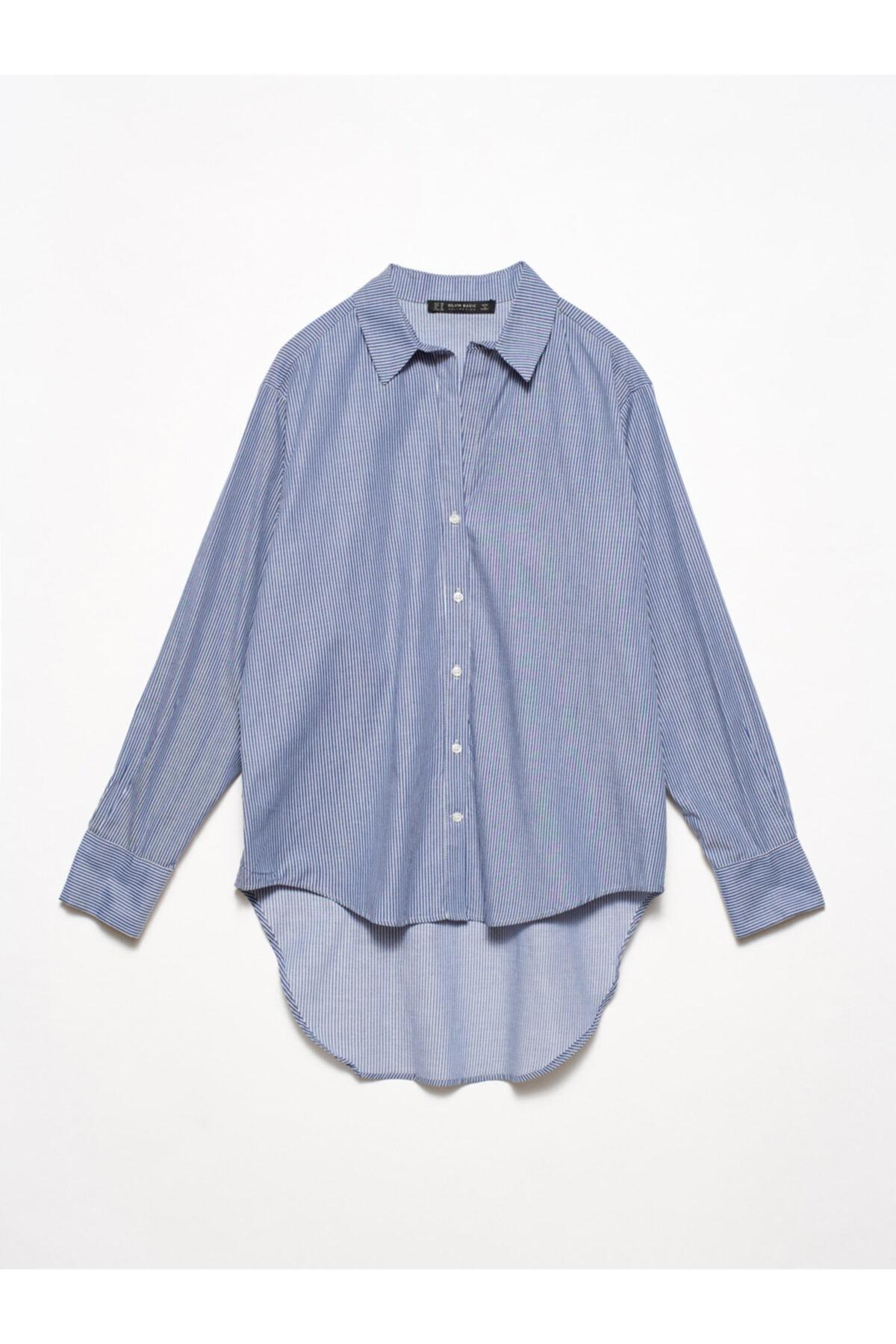 Dilvin Kadın Mavi 5202 Arkası Uzun Klasik Gömlek 103A05202 1