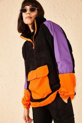 Bianco Lucci Kadın Siyah Fermuarlı Kanguru Cepli Sweatshirt