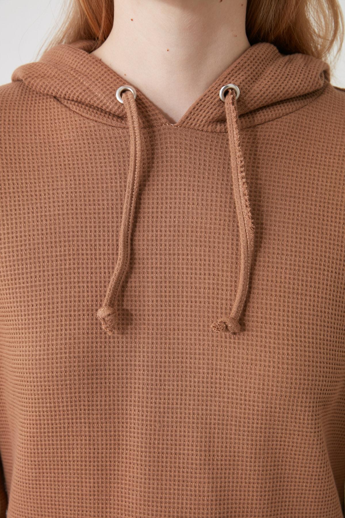 TRENDYOLMİLLA Camel Kapüşonlu Örme Sweatshirt TWOAW21SW1615 2