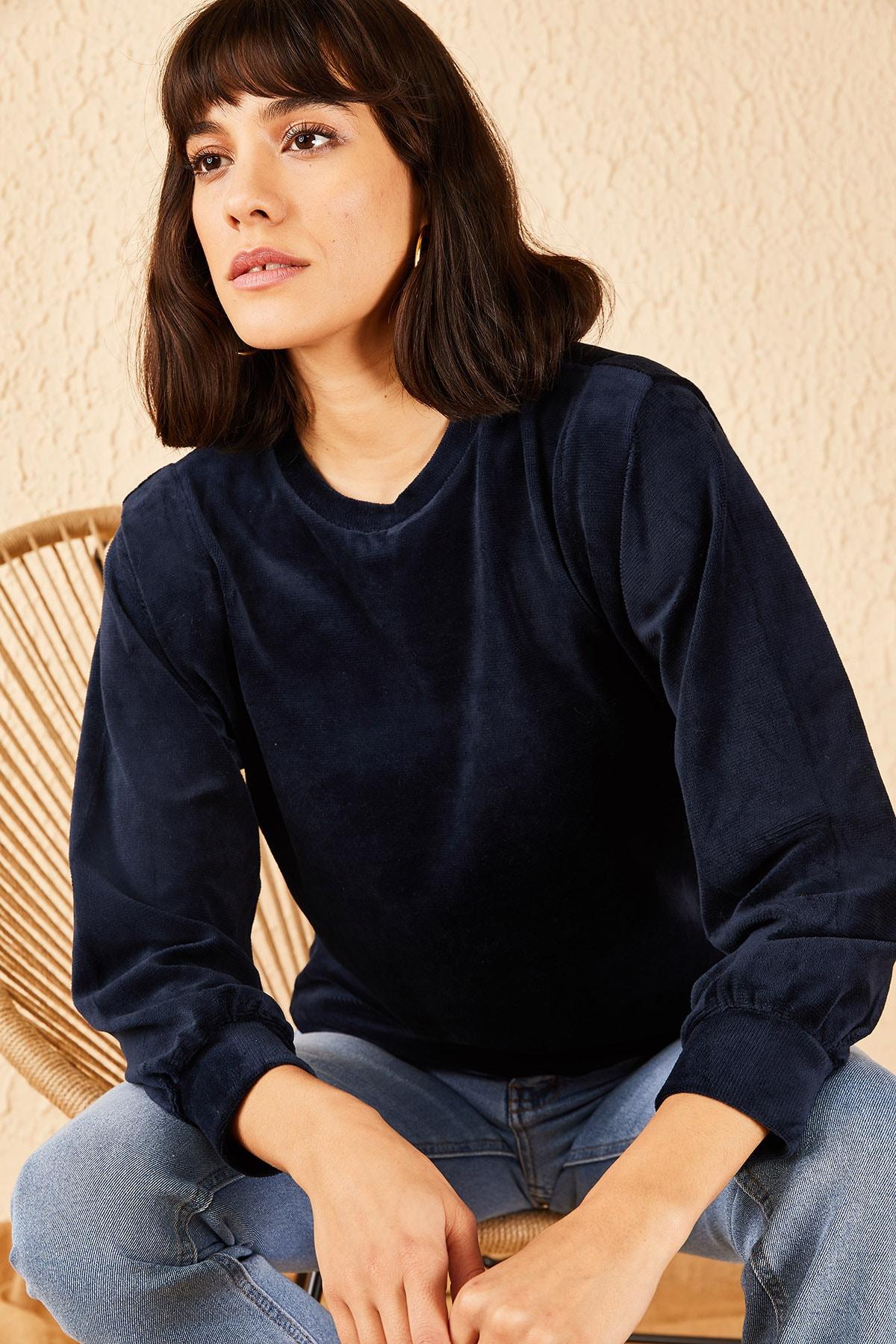 Bianco Lucci Kadın Lacivert Fitilli Kadife Basic Sweatshirt 10191054
