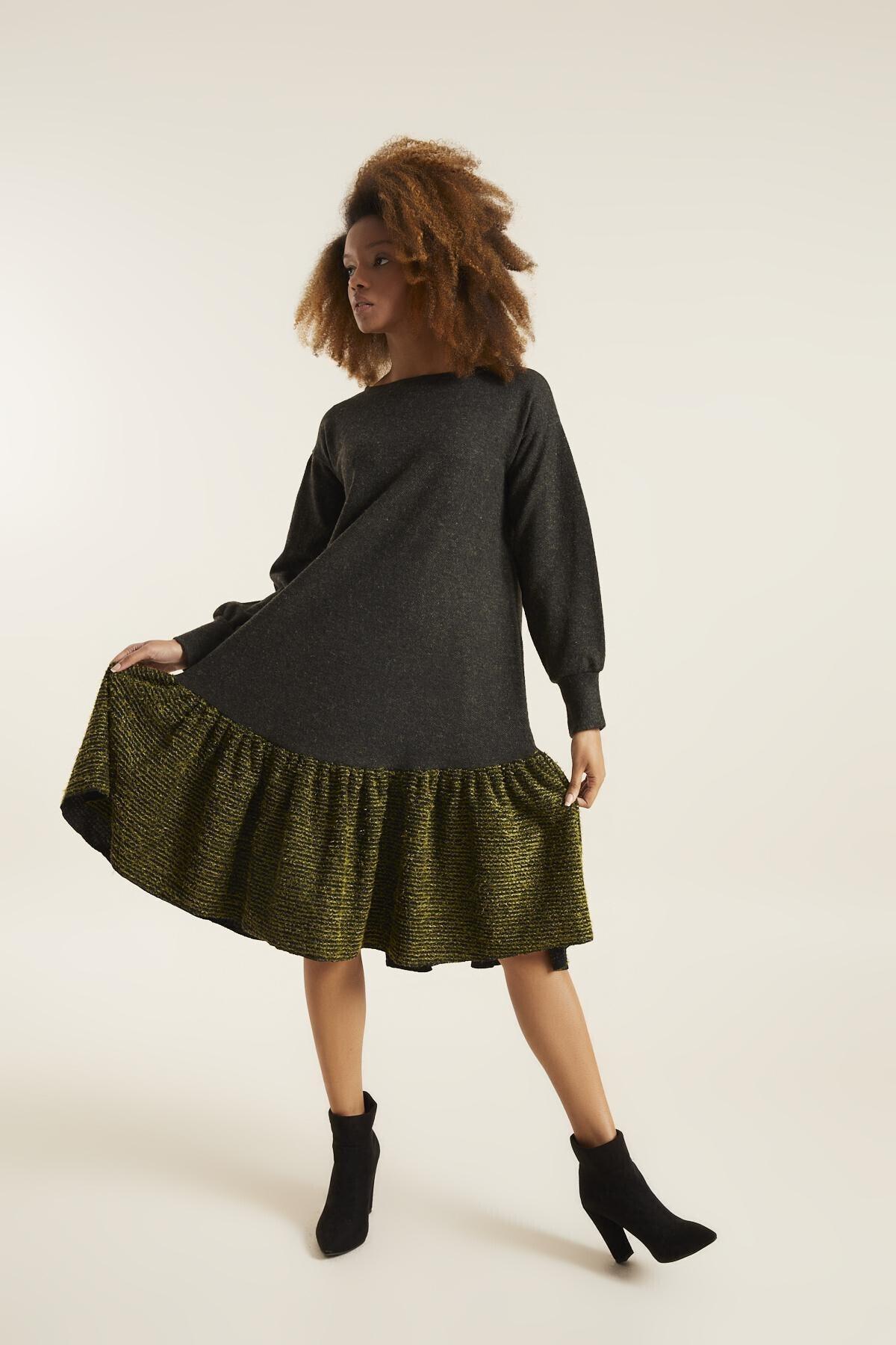 Quincey Kadın Haki Örme Elbise 2