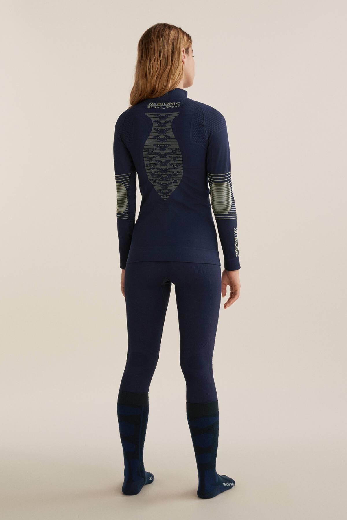 Oysho Kadın Deniz Mavisi Dikişsiz Teknik Kayak Taytı X-Bionic Energizer® 4.0 2