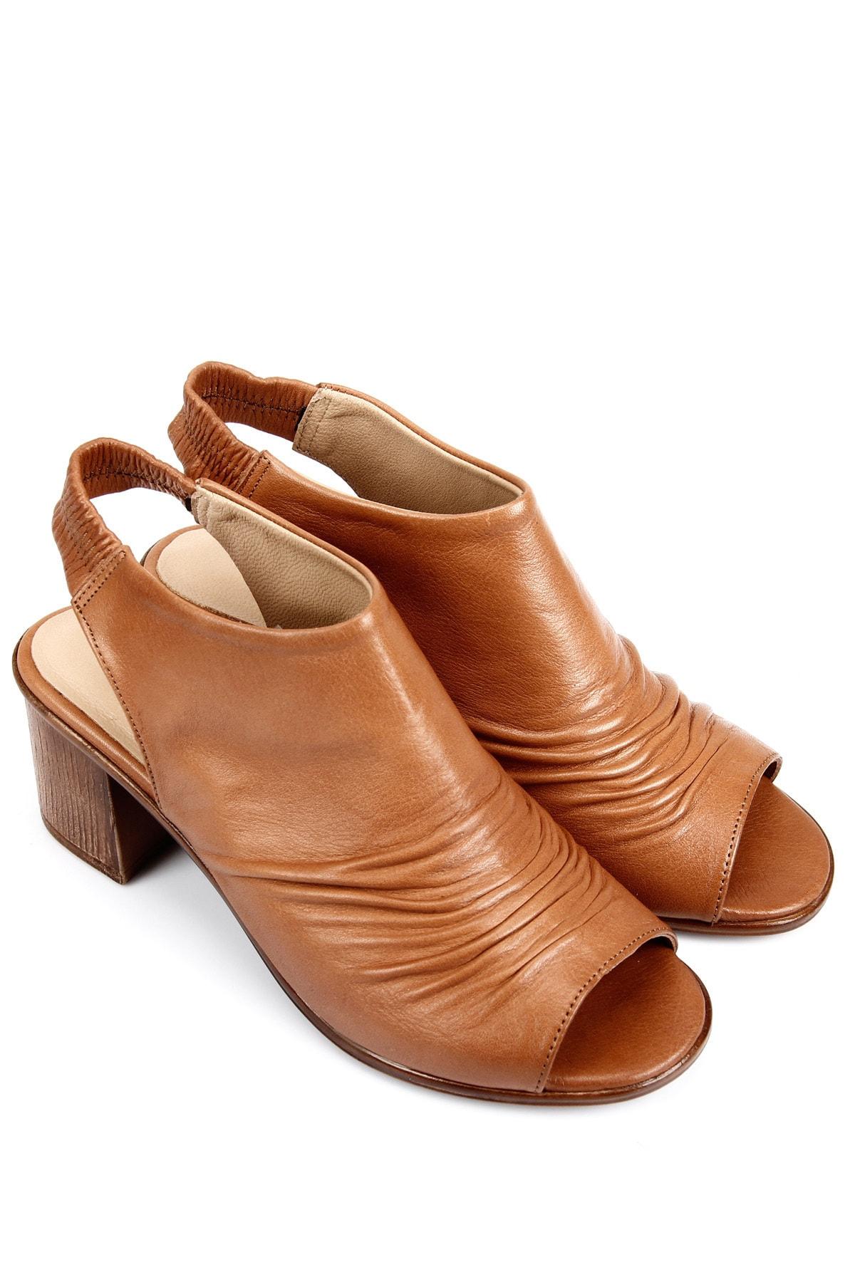 GÖN DERİ(R) Kadın Kahverengi Hakiki Deri Sandalet 45619 2