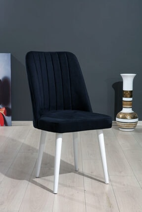 MYMASSA Polo Sandalye Siyah Düz Renk Kumaş - Ahşap Beyaz Ayaklı