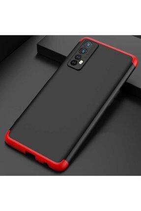 Oppo Realme 7 Kılıf Sert 360 Hard Protective Kapak Siyah-kırmızı