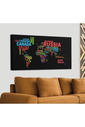Harita Sepeti Siyah Zeminli Ülke Isimli Dünya Haritası Kanvas Tablo 1015