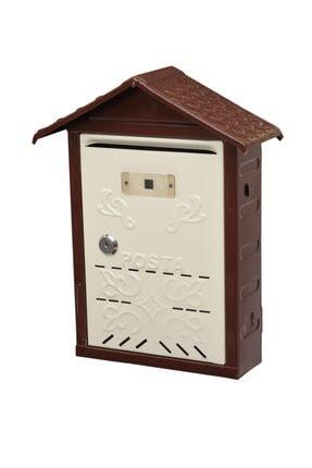 AKSAN 301 Çatılı Metal Posta Kutusu Kahverengi & Krem