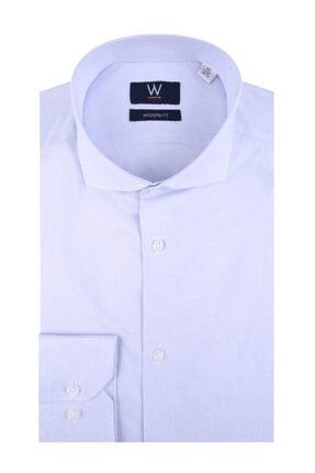 W Collection Erkek Beyaz Mavi Klasik Easy Iron Gömlek
