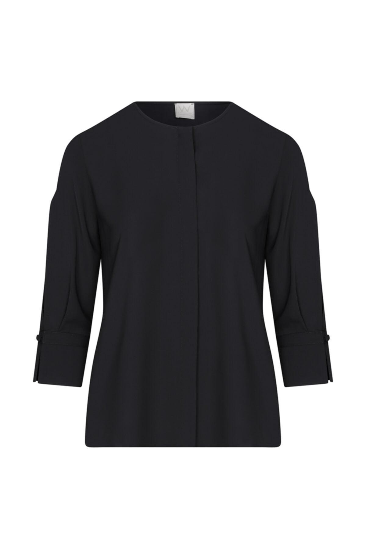 W Collection Kadın Siyah Kolları Yırtmaçlı Bluz 1