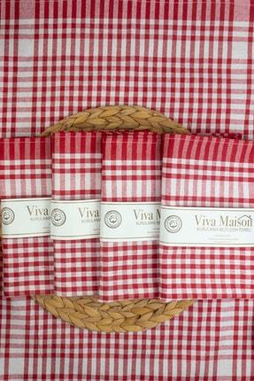 vivamaison Kırmızı 5'li Mutfak Peçetesi Kurulama Bezi