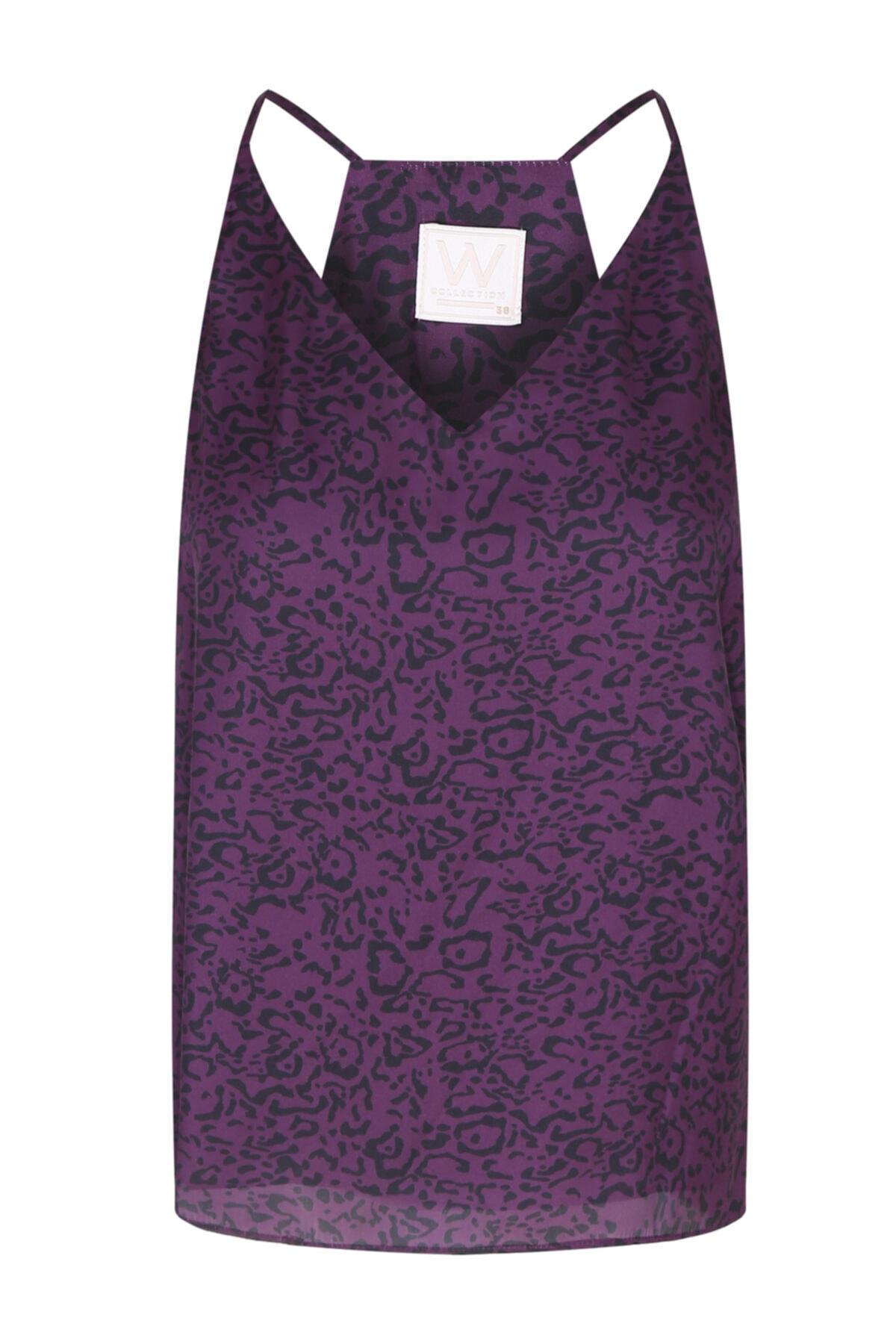 W Collection Kadın Mor Desenli Askılı Bluz 1