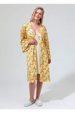 Dagi Kadın Sarı Çeçekli Gecelik Sabahlık Takımı