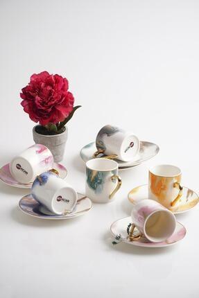 ACAR Brush 6lı Porselen Kahve Fincan Takımı