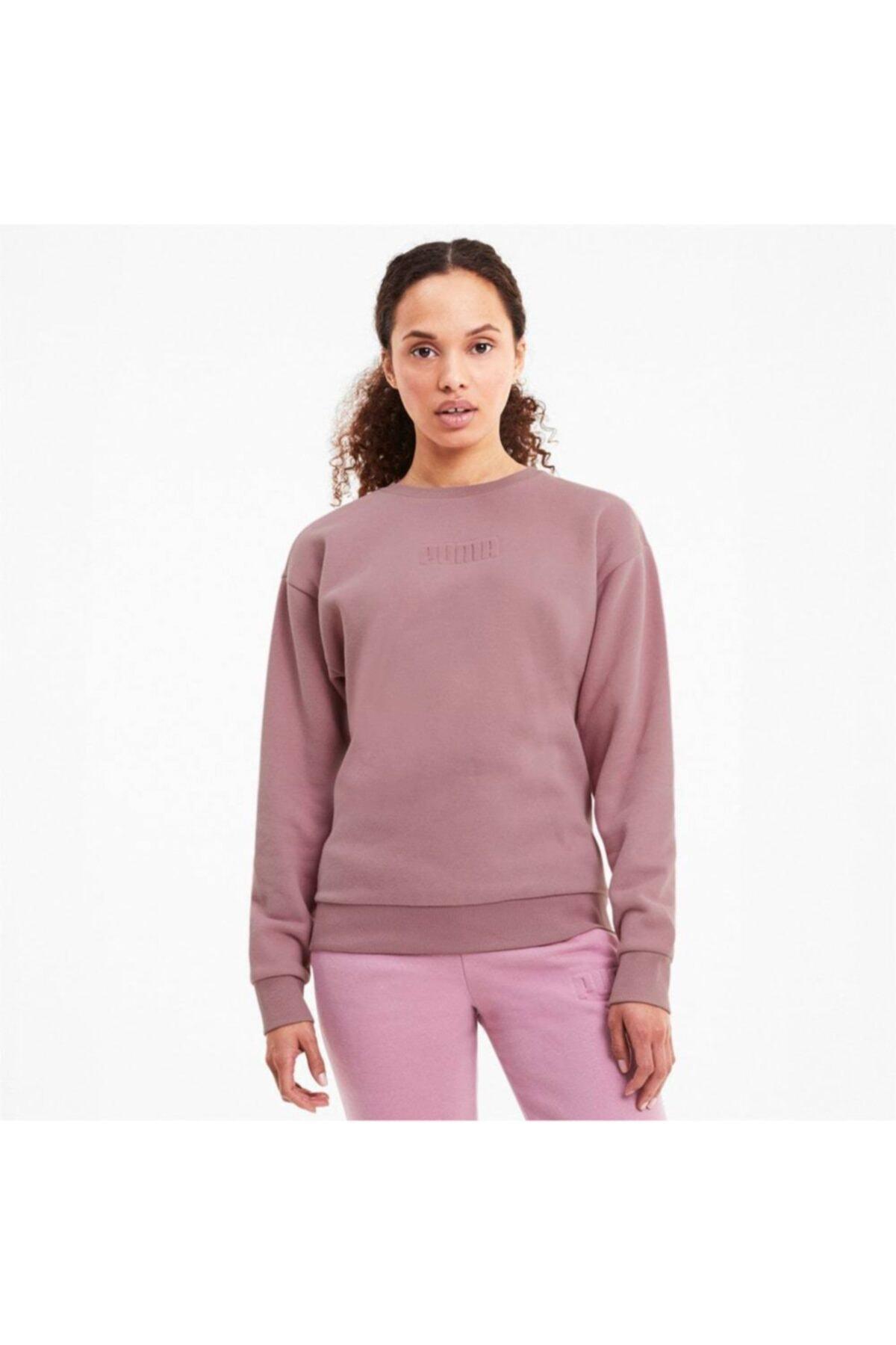 Puma MODERN BASICS CREW FL Pembe Kadın Sweatshirt 101119453 1