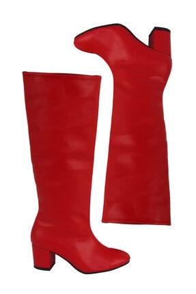 DY SHOES Kadın Kırmızı Mat Deri Kısa Topuk Yuvarlak Burun Diz Altı Çizme Dy0051