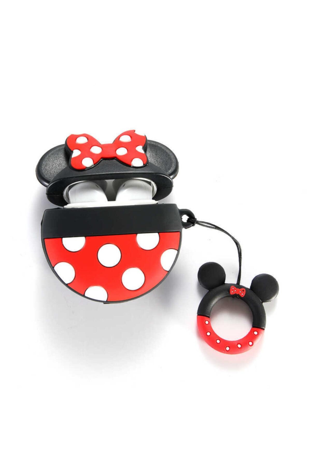 zore Apple Airpods Uyumlu Silikon Mickey Mouse Figürlü Korumalı Wireless Şarj Destekli Darbe Emici  Kılıf 2