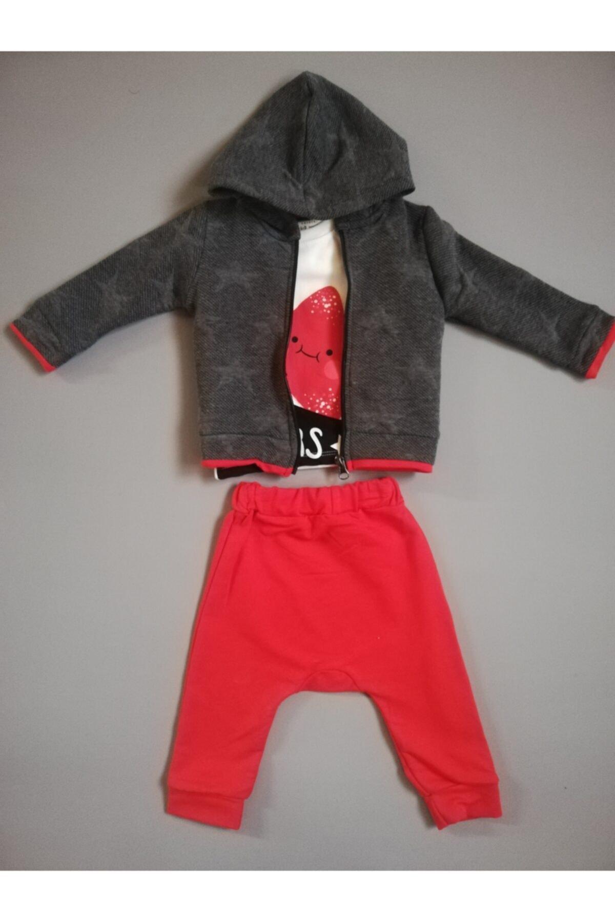 Miniworld Unisex Kırmızı Gri Yıldızlı Hırkalı 3'lü Bebek Takım 1