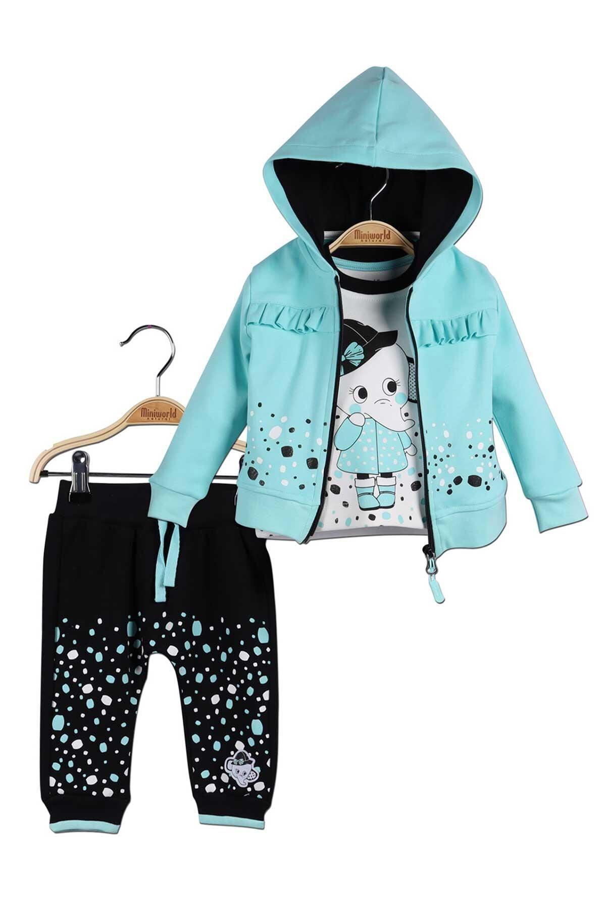 Miniworld Kız Bebek Hırka Sweatshirt Pantolon 3lü Takım 14790 1