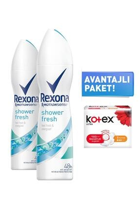 Rexona Shower Fresh Kadın Sprey Deodorant 150 Ml X2 + 8'li Kotex Normal