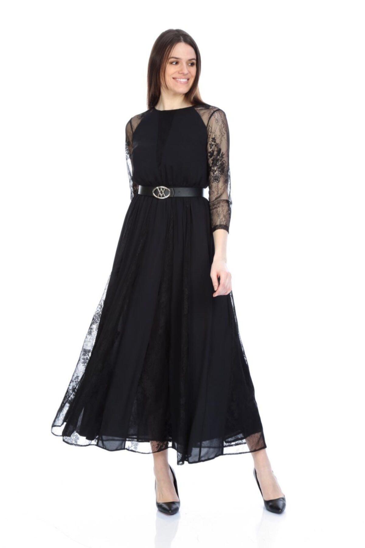 WOMMA Dantel Garnili Şifon Elbise 2