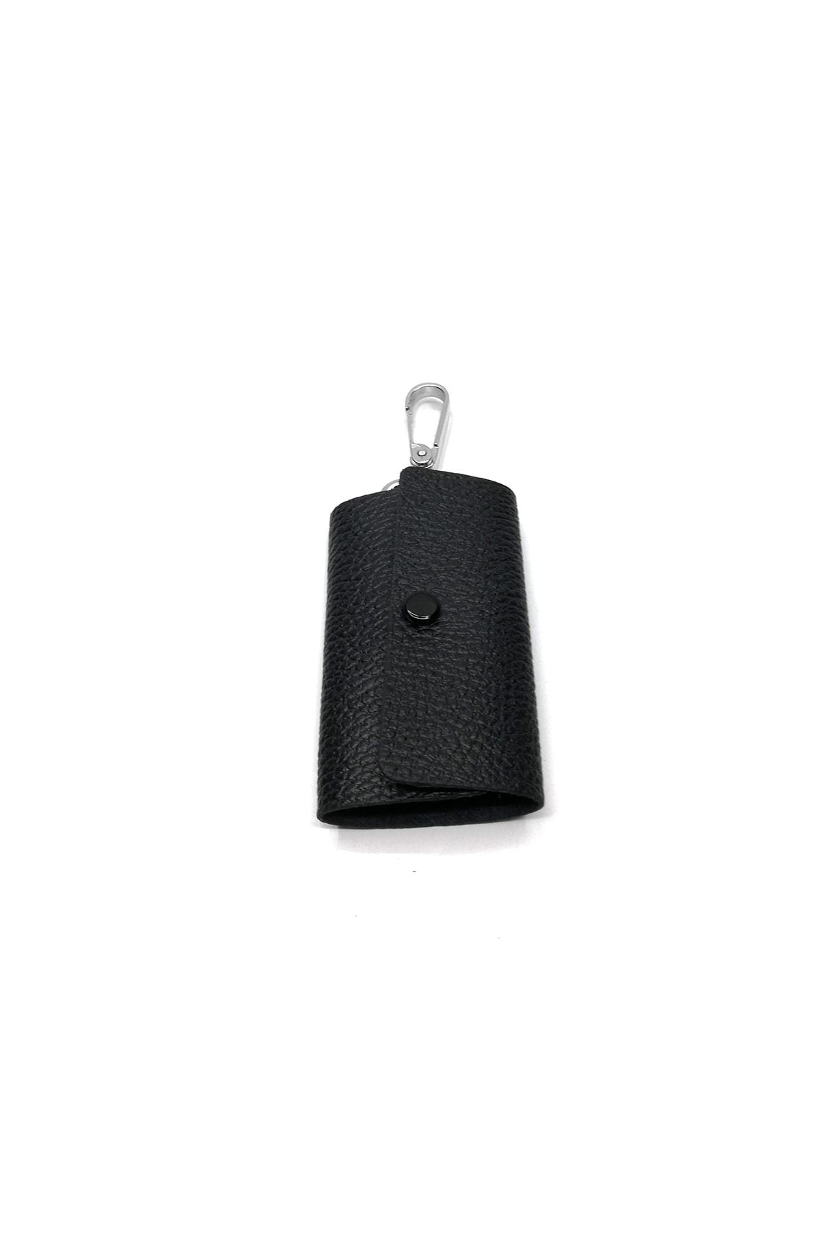 Cascades Leather %100 Hakiki Deri Siyah Renk Dokulu 6'lı Anahtarlık 1
