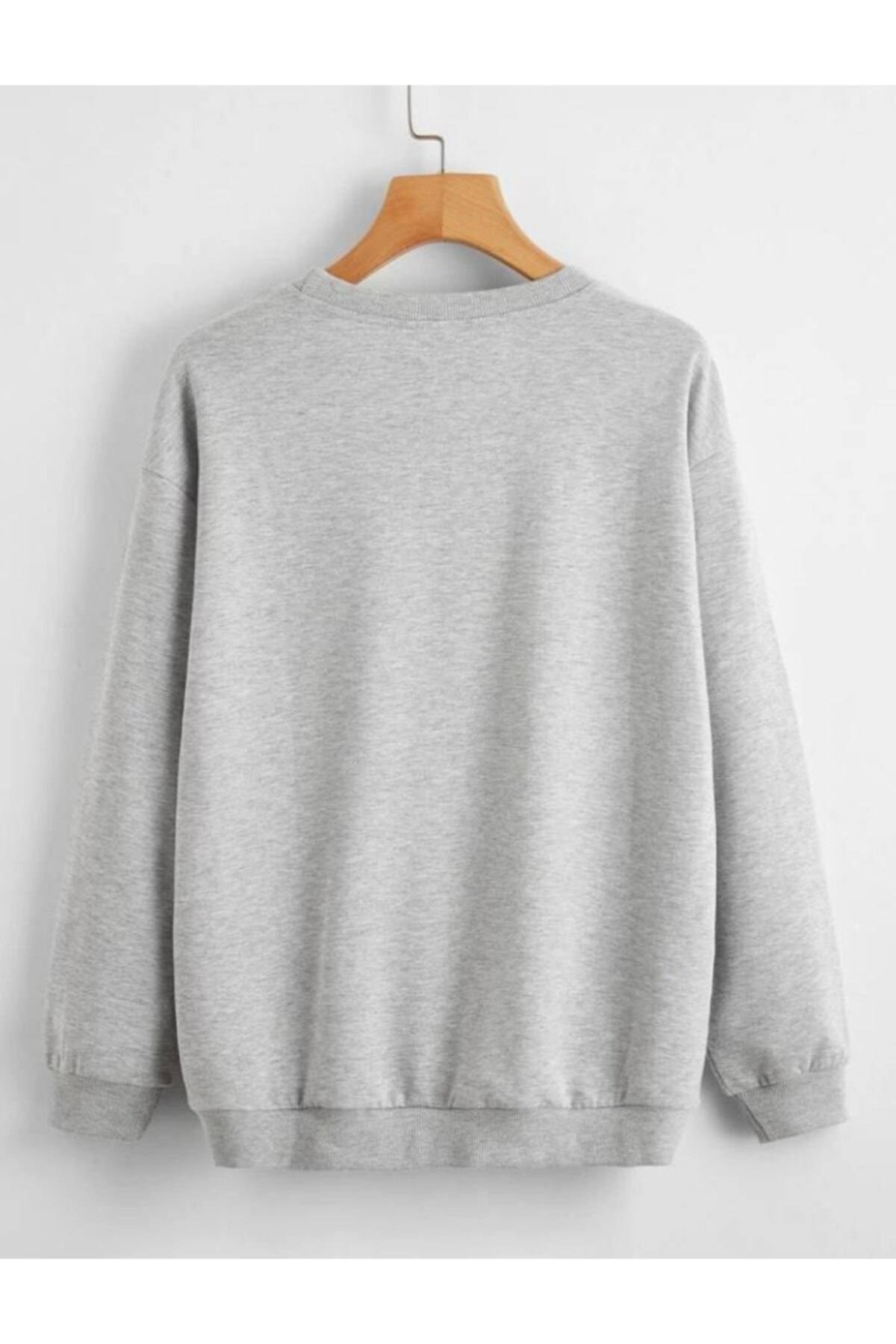 cartoonsshop Unisex Gri Düz Basic Sweatshirt 2