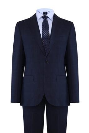 W Collection Erkek Lacivert Mavi Ekoseli Takım Elbise