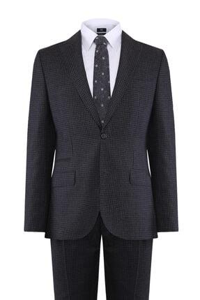 W Collection Erkek Gri Mini Kareli Takım Elbise