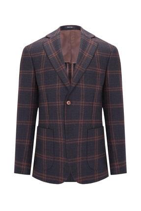 W Collection Erkek Kahverengi  Ekoseli Ceket