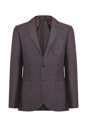 W Collection Erkek Kahve Bej Balık Sırtı Blazer Ceket