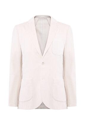 W Collection Erkek Ekru Fitilli Kadife Blazer Ceket