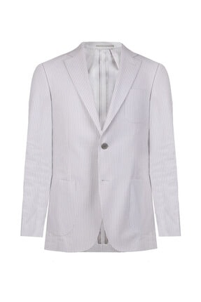 W Collection Erkek Gri Çizgili 6 Drop Blazer Ceket