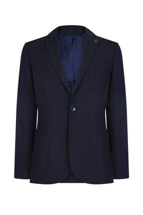 W Collection Erkek Lacivert Kendinden Desenli Blazer Ceket