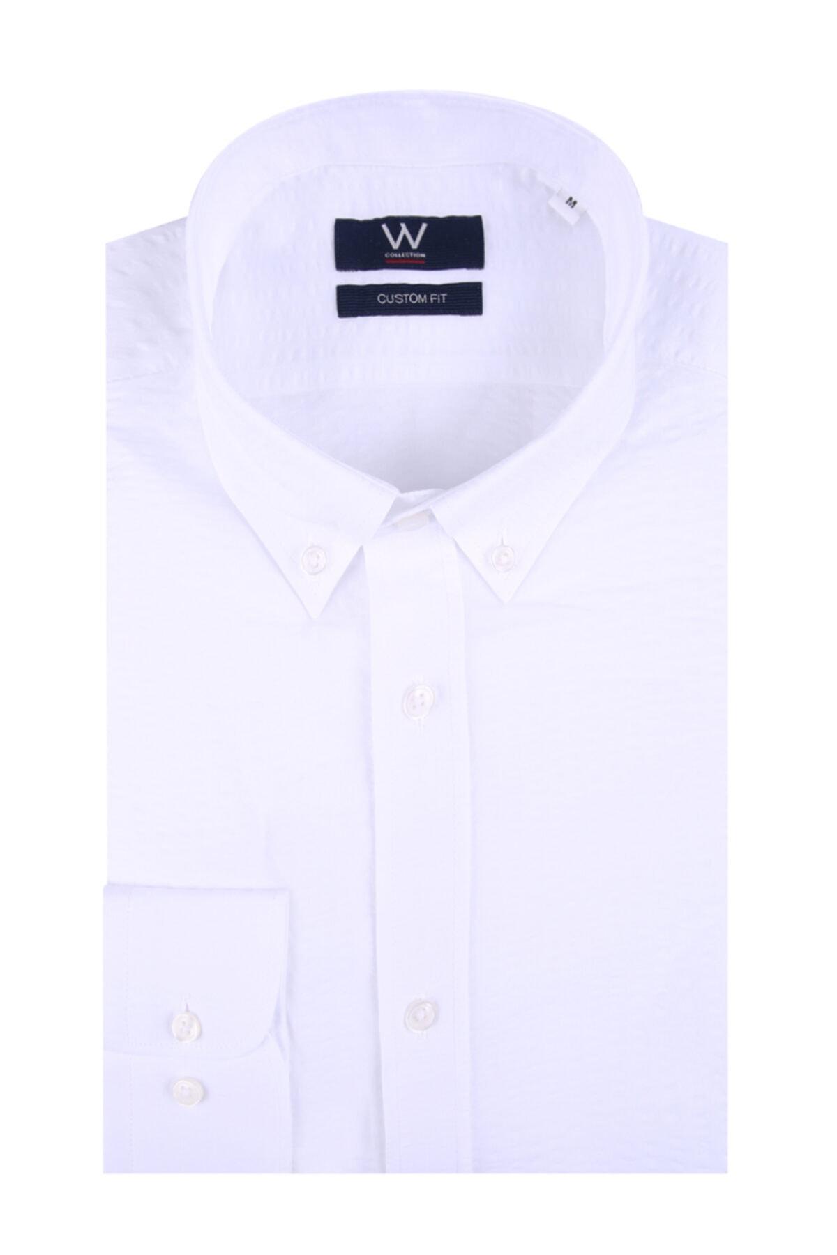 W Collection Beyaz Seer Sucker Gömlek 1