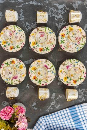 vivamaison Sarı 18 Parça Çay & Kahve Fincan Seti