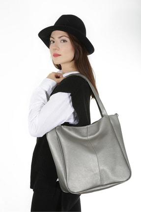Etka Çanta Kadın Gümüş Soft Salaş Omuz Çantası