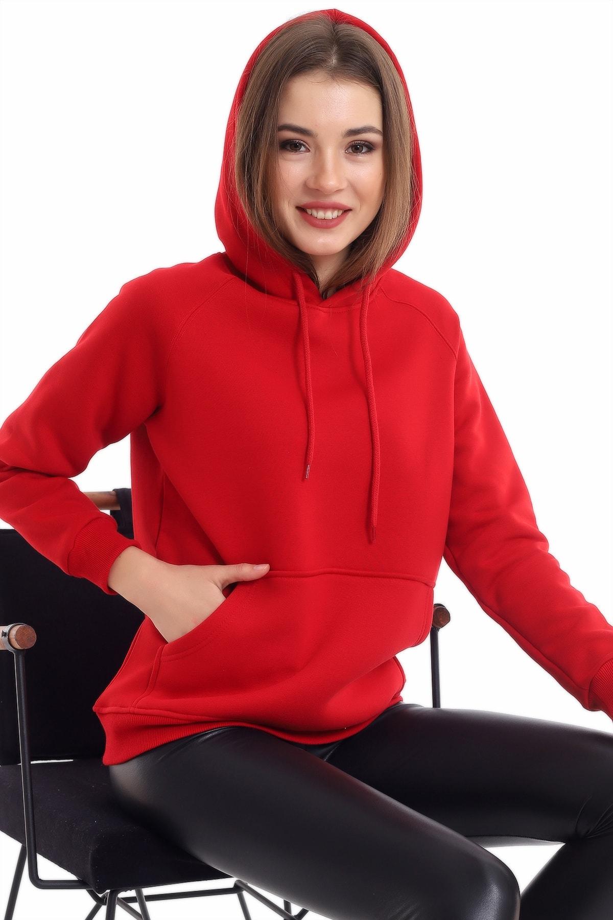boffin Kadın Bordo Cep Detaylı İçi Pamuklu Sweatshirt 1