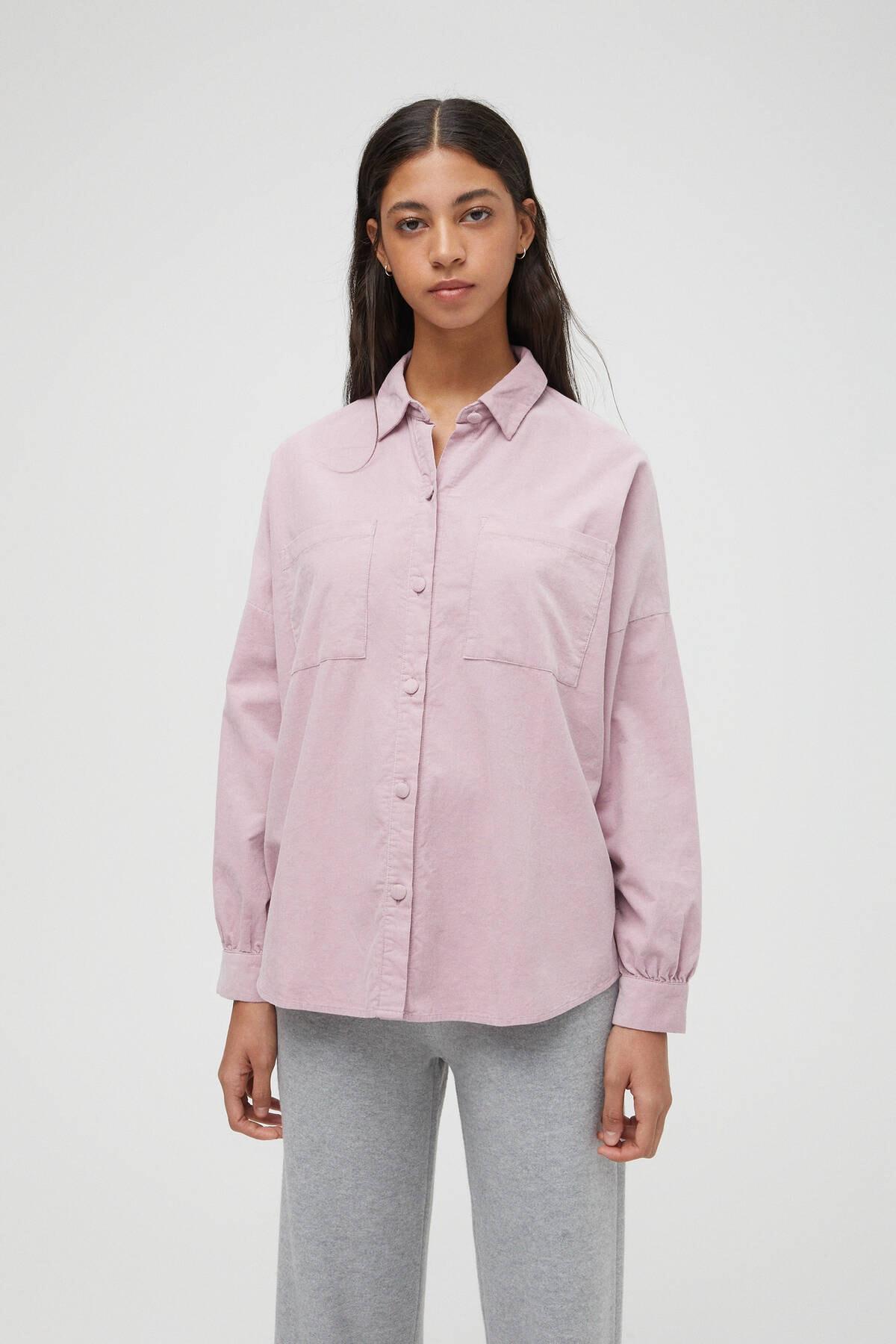 Pull & Bear Kadın Lila Ince Fitilli Kadife Oversize Gömlek 1